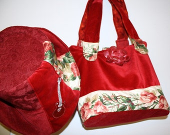 Messenger bag and matching  hat - Made from Vintage  fine Velvet.