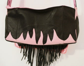 Leather Biker Bag Upcycled made by Maggie-Back to School Sale.