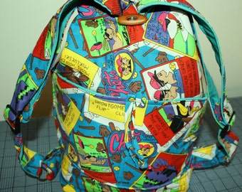 Hand Crafted And Hand Designed By Maggie  Med. Sweet Cartoon Backpack.