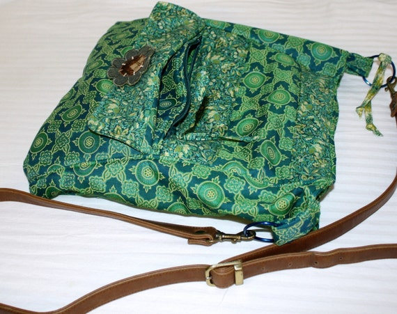 Hand Crafted Hobo Hippie Bag made with vintage silk and leather belt - sale for Valentines.