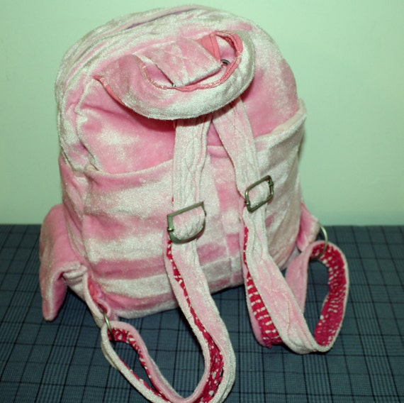 Love This Pink Velvet Backpack- Messenger bag-Book bag-Big Sale.