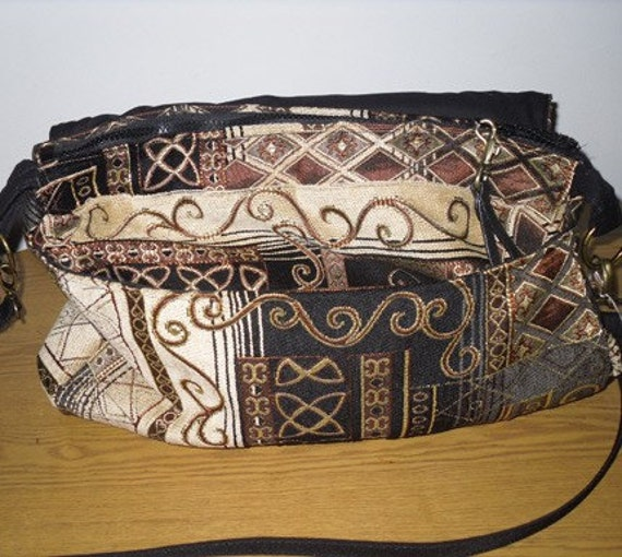 Black and Gold Hand Sewn Bookbag- Large Laptop- Messenger-Crossbody- laptop- Back to School  Sale.