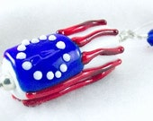 American Flag Pendant Necklace with Handcrafted Art Glass Bead
