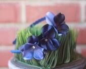 Dark Blue Flower Trio Headband