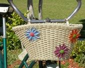 vintage flowers bike basket