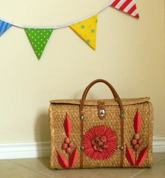 reserved large vintage MEXICO straw bag tote
