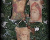 Three printed Chistmas tuck ornaments