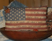 Primitive American Flag tuck pillow
