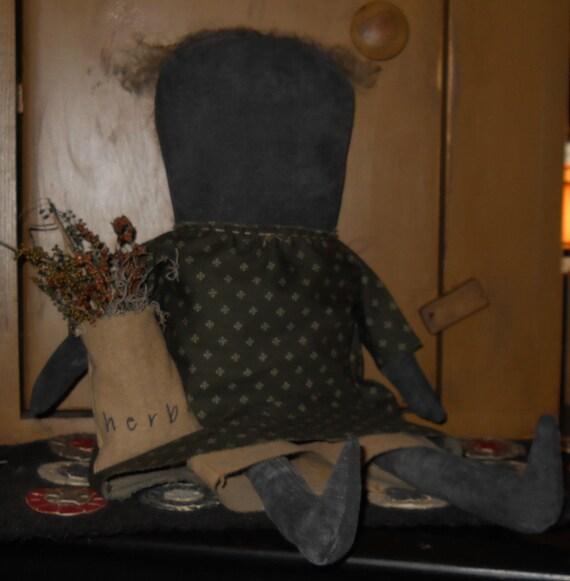 Primitive Black Herb Doll Ready to Ship