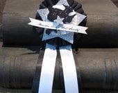handmande BLACK HAT SOCIETY prize ribbon badge halloween