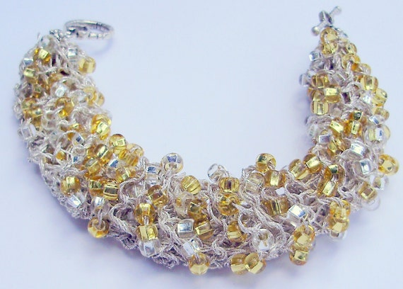 Bracelets-Knitted  Bracelets-Crystal Bracelet-Gold  bracelet-Beaded Bracelet-By KMGEMS