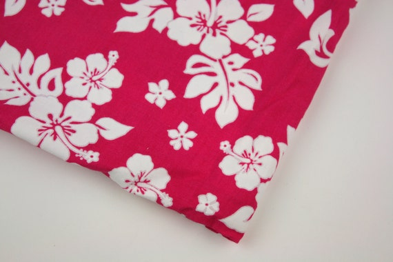 Vintage Fabric Hawaiian Floral Magenta White TWO YARDS