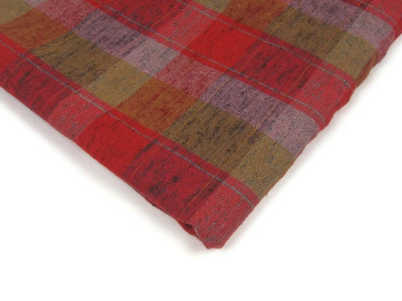 Vintage Fabric Wool Blend Suiting Plaid Red Olive Green Purple Mustard THREE YARDS
