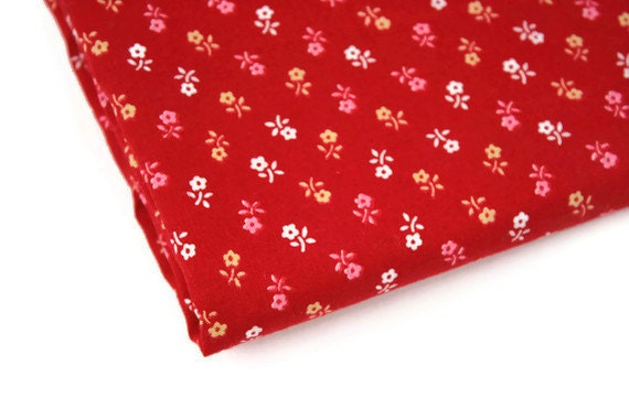 Vintage Fabric Cotton Calico Red