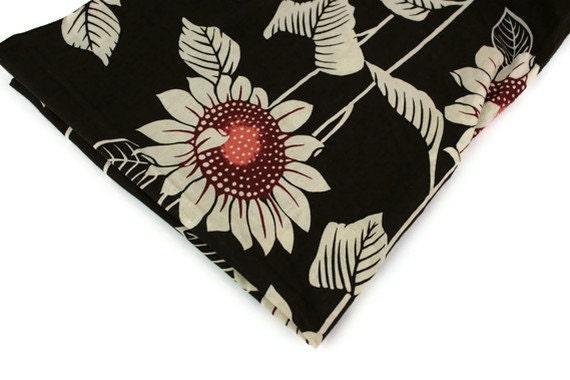 Vintage Fabric Sunflower Brown Ecru Hawaiian