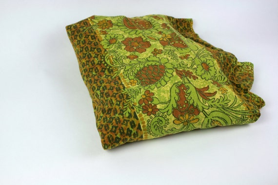 Vintage Fabric Bedspread Retro Avocado Olive Green Rust Floral FULL SIZE