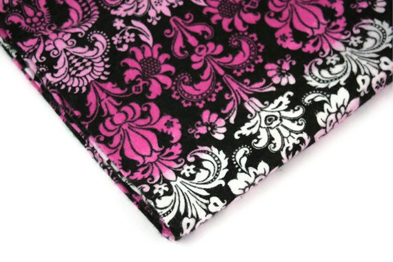 Reclaimed Fabric Flannel Damask Pink Dark Brown White