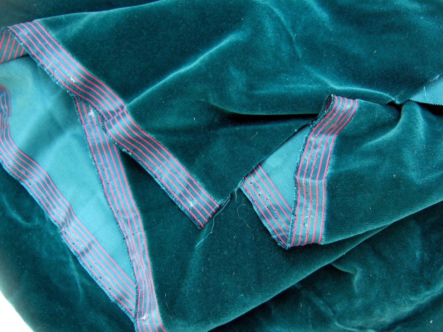 Vintage velvet peacock blue green fabric by quiverreclaimed