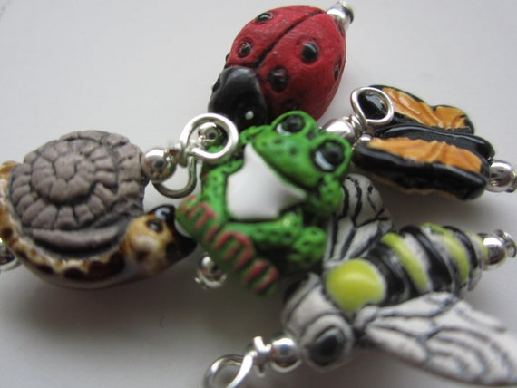 GARDEN FRIENDS hand painted peruvian animal charms beads ladybug monarch butterfly bumble bee snail frog