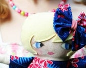 Personalized Soft Rag Doll   Red White and Blooms Soft  Art Doll    hand painted face design