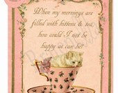 Vintage Inspired Kittens and Tea Card by Vintage Bratenella