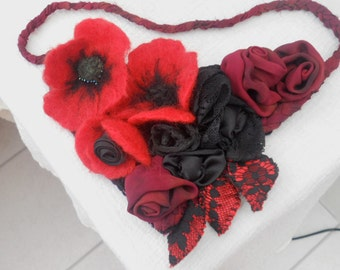 Poppy Dreams......A Bib Style Necklet using Vintage Fabrics and Merino Wool...Silk Chiffon, Lace, Satin and Velvet.