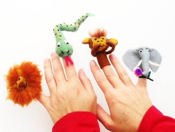 Felt Finger puppets Fingertips  My Favourite Jungle and Savanna Animals Lion/Elephant/Monkey/ Anaconda