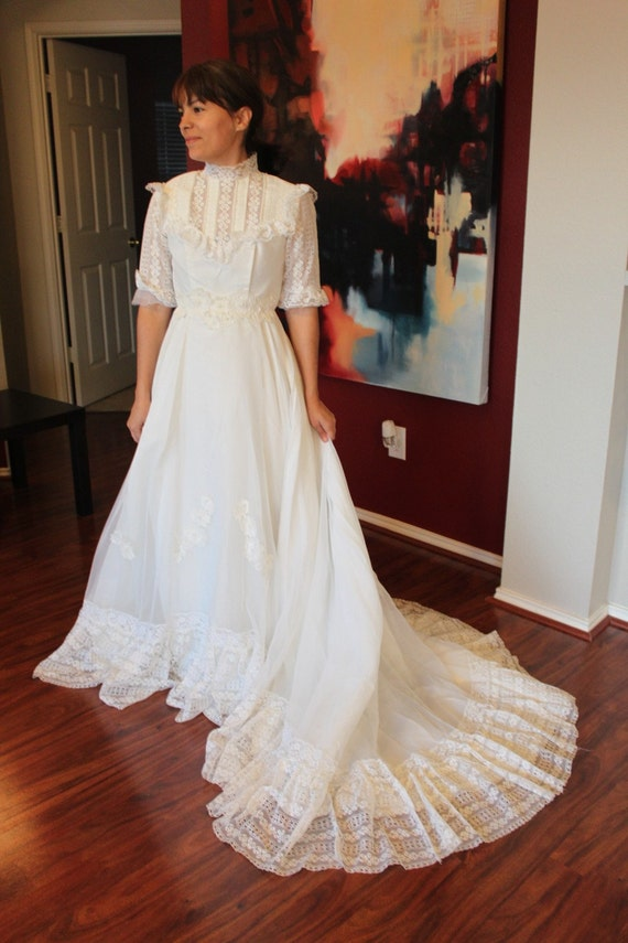 1970s vintage wedding gown prairie dress sale for 1970s wedding dresses for sale