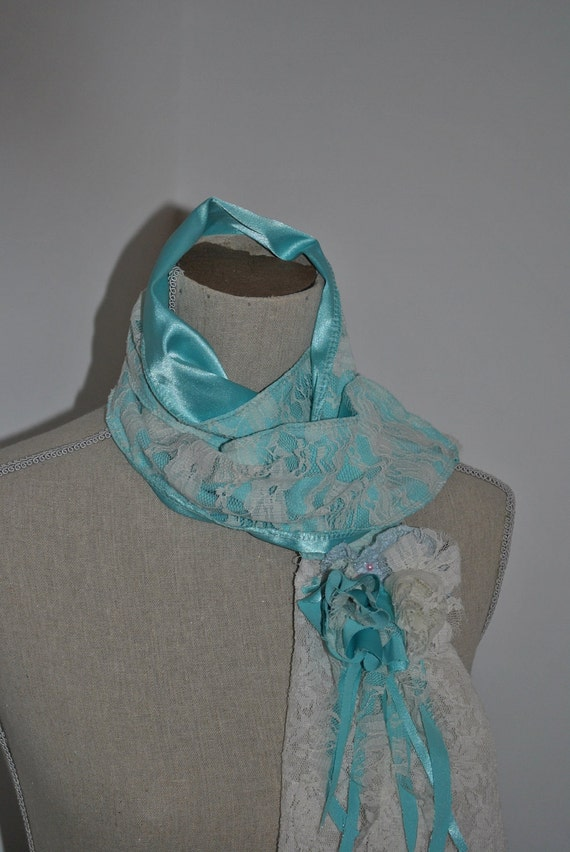 SALE- Eco Friendly Tiffany Blue Satin & Lace Scarf-  2die4 - Designed By Gina Louise- Original Design