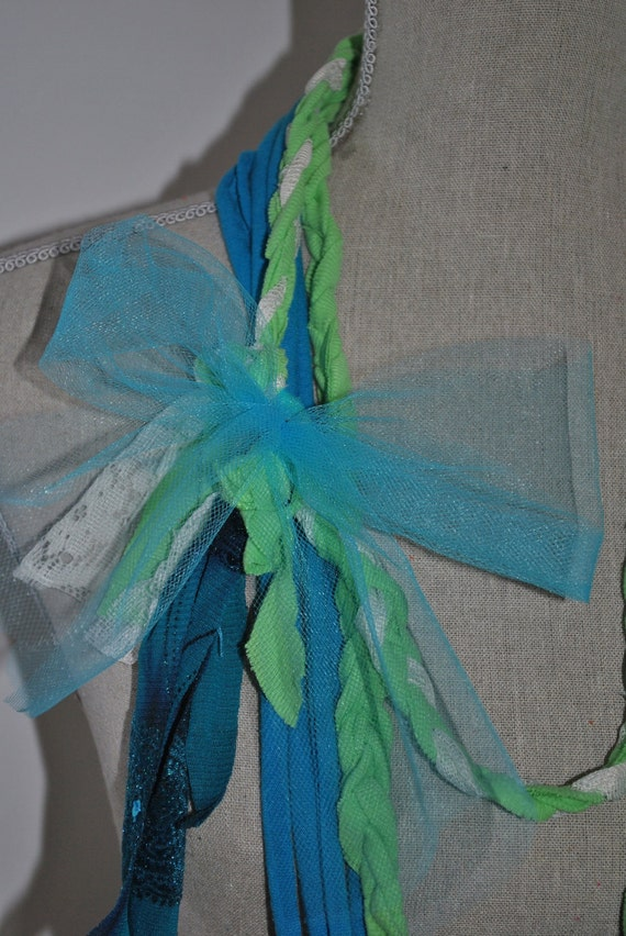 Recycled Farm girl Jersey t shirts Scarf Necklace Loop - Teal w/ Lime Green Designed By Gina Louise