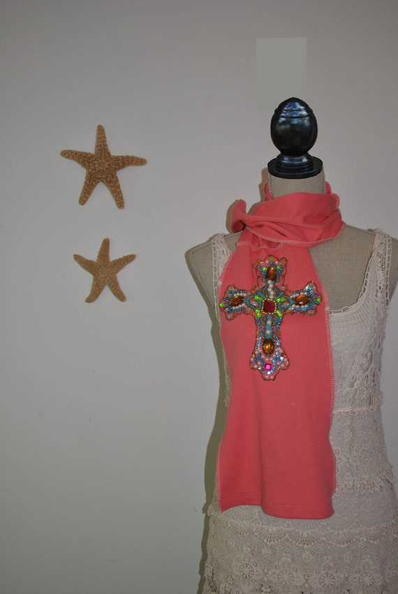 Heavily Beaded n Sequins Cross Scarf made from recycled  Fabric - Designed By Gina Louise-  Salmon 2die4