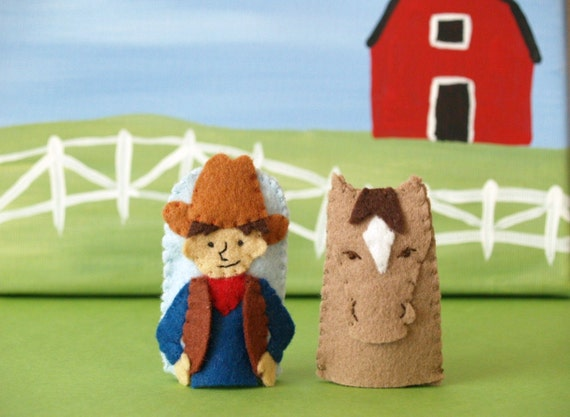 Cowboy and Horse Finger Puppet Set