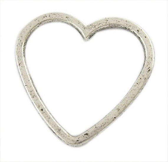 12 Qty - Tibetan Silver heart ring -  connectors link - heart charm pendant  - Antique Silver - wholesale bulk - supplies