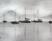 Foggy Morning in the Harbor- Print of Original Black and White Charcoal Drawing by Jamies Art 8x10