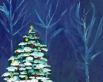 Peaceful Christmas- Original Painting by Jamies Art 4X4