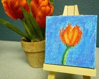 Tulip- Original Miniature Painting by Jamies Art