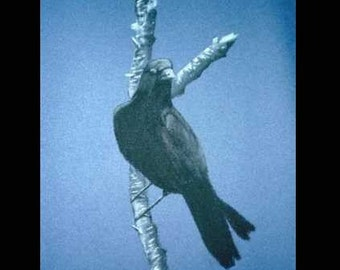 Crow on Branch- Original Charcoal Drawing by Jamies Art 18X24