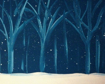 Cold Winter's Night- Original Painting by Jamies Art 8x10