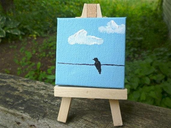 Bird ond a Wire- Original Miniature Painting by Jamies Art
