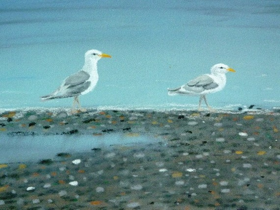 Seagulls at the Beach- Original Pastel Drawing by Jamies Art 8x10
