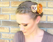 Apricot - Floral Hair Comb orange cream and brown Fall Autumn woodland Collection 2010