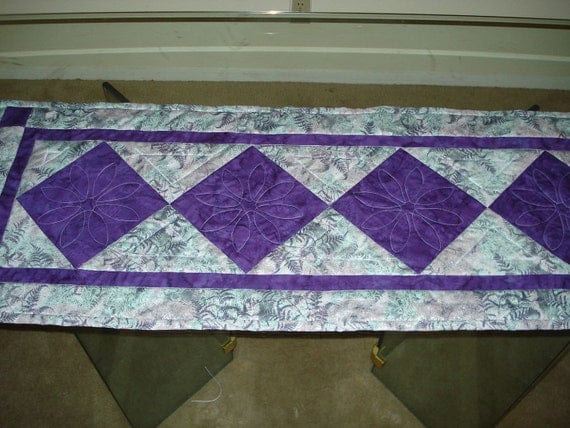 """Green and purple  Quilted Table Runner 16 1/2"""" x 46 1/2"""""""