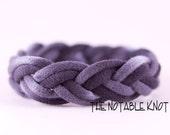 Grey Tie Dye Sailor BraceletTurk's head knot, T shirt yarn Continuous Braided Bracelet