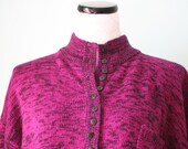 1980s Mottled Raspberry Button Down SWEATER - Sz 18/20 X Large