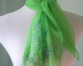 Vintage Sheer Lime Green Scarf