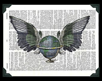 Buy Any 2 Prints get 1 Free Global Wings Vintage Dictionary Art