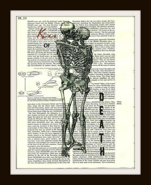Buy Any 2 Prints Get 1 Free Kiss of Death Kissing Skeletons Vintage Dictionary Art
