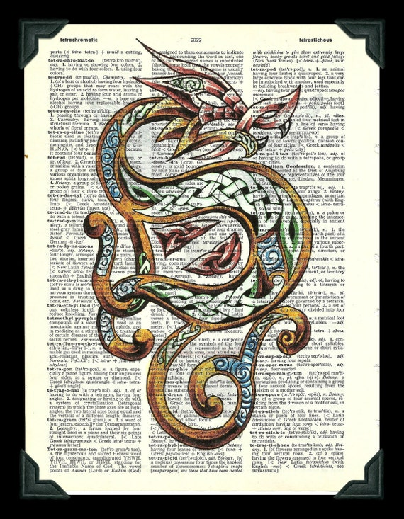 Buy Any 2 Prints get 1 Free Celtic Dragon Vintage Dictionary Art