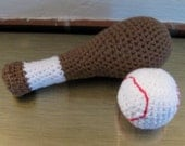 Baseball Bat and Ball, Stuffed Toy,  Handmade