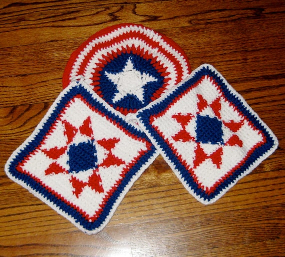 Pot Holder/Hot Pad Set, Red, White & Blue Star, Handmade